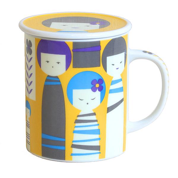 画像1: 茶漉し付きコケシマグ(黄色)