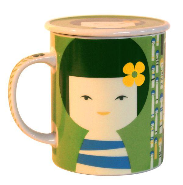 画像2: 茶漉し付きコケシマグ(グリーン)