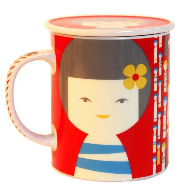 画像2: 茶漉し付きコケシマグ(赤)