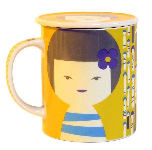 画像2: 茶漉し付きコケシマグ(黄色)