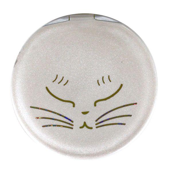 画像1: 白猫コンパクトミラー(眠り)