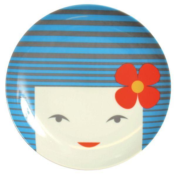 画像1: レトロこけしお皿(19.5cm)ブルー