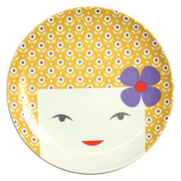 画像1: レトロこけしお皿(19.5cm)黄色