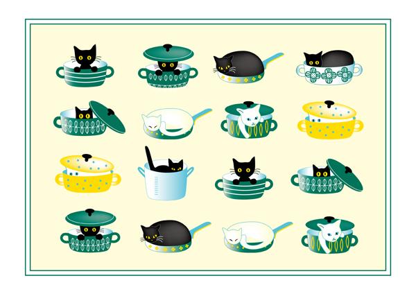 画像1: A3ポスター 鍋猫