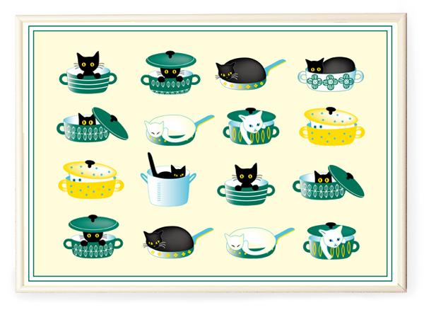 画像1: 額入りA3サイズポスター 鍋猫