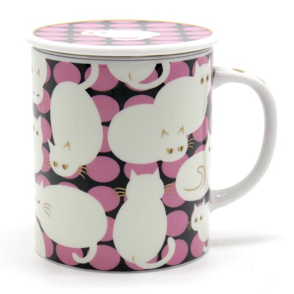画像1: ドットキャット白猫ピンク