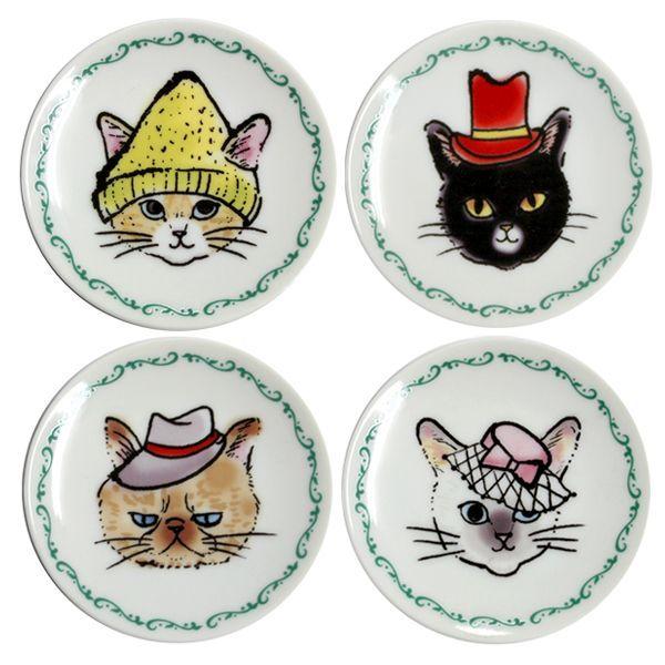 画像1: 帽子猫小皿セット